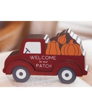Pumpkin Patch Red Truck Chunky Sitter.. 3.5  h x 6  w x 1.5  Dp. in.