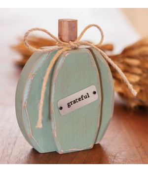 Teal Chunky Grateful Pumpkin Sitter.. 6 h x 4.75 w x 1.5 Dp. in.