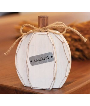 White Chunky Thankful Pumpkin Sitter.. 6 h x 4.75 w x 1.5 Dp. in.