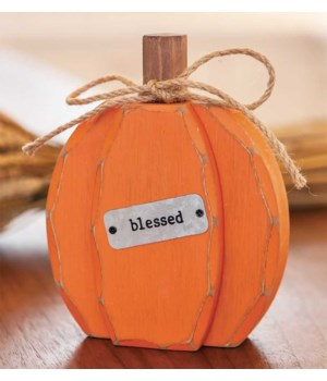 Orange Chunky Blessed Pumpkin Sitter.... 6 h x 4.75 w x 1.5 Dp. in.