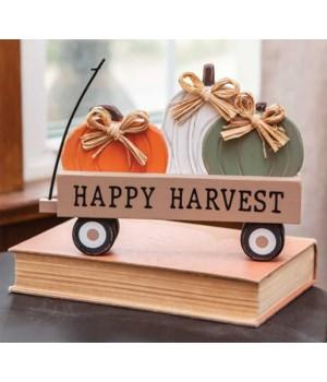 Happy Harvest Pumpkin Wagon Sitter 7  h x 9.25  w x 1.5  Dp. in.