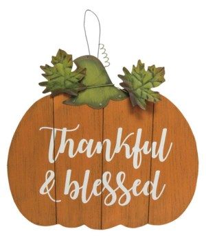 Thankful and Blessed Pumpkin Sign-Wood.. 13.75 h x 15 w x .25 Dp. in.