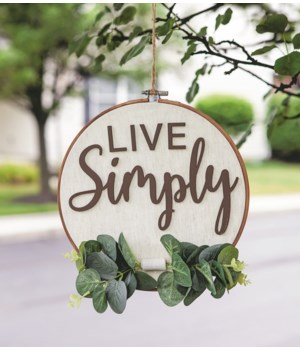 Live Simply Sampler Wall Hanger 9.25 l x 10 h x .25  dp in.
