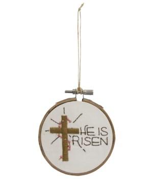 He Is Risen Sampler Ornament 3.5 l x 4 h x .25  dp in.