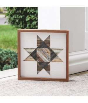 Framed Natural Wood Barn Quilt, 12  12 sq x .75  dp in.