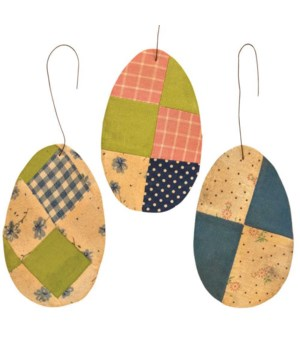 3/Set, Patchwork Egg Ornament 3  x 5  in.