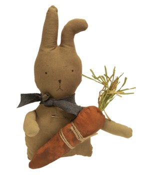 Bunny with Fabric Carrot, 13  13 in.