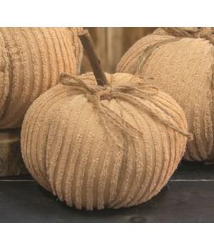 Cream Chenille Pumpkin, 6  6 x 6 x 5.5 in.