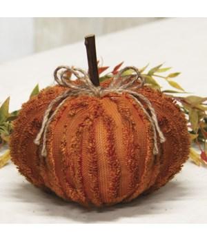 Medium Orange Chenille Pumpkin 4.5 x 4.5 x 5 in.