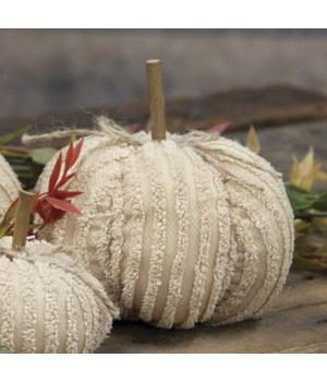 Medium Cream Chenille Pumpkin 4.5 x 4.5 x 5 in.