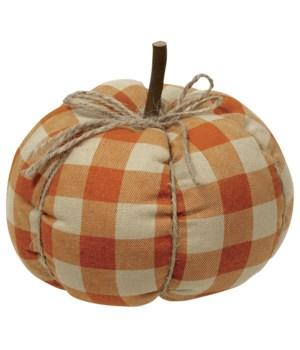 Medium Orange Buffalo Check Pumpkin 6 x 6 x 5.5 in.