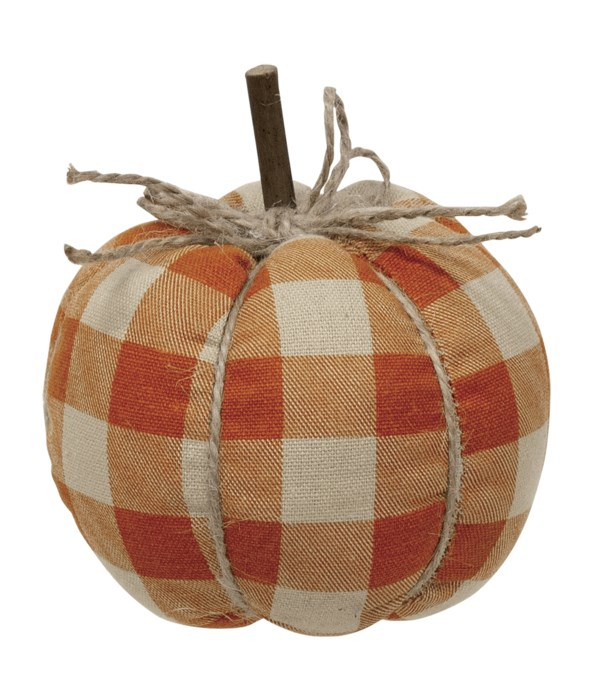 Small Orange Buffalo Check Pumpkin 4.5  x 4.75  in.