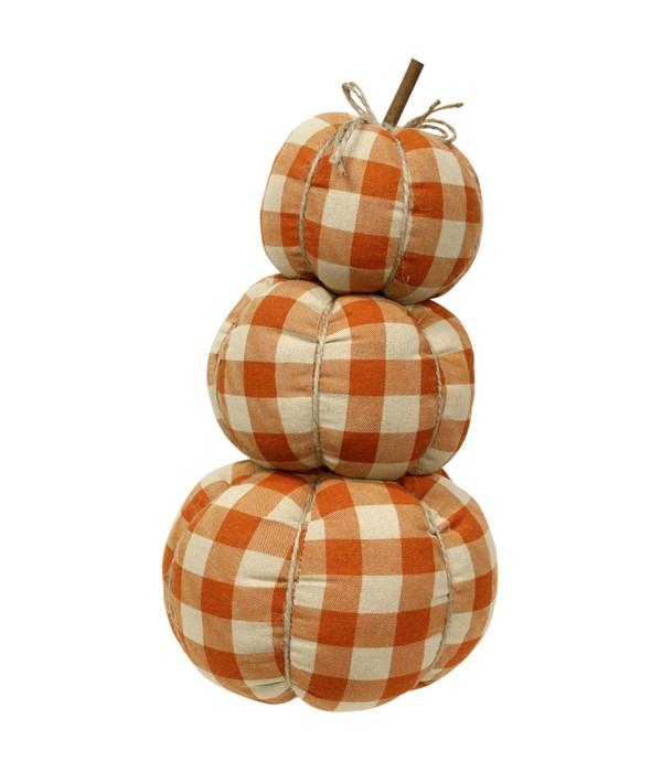 Orange Buffalo Check Pumpkin Stack 6.5 x 6.5 x 13 in.