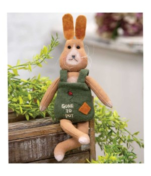 Gone to Pot Bunny Ornament 4 l x 1  dp x 9 h in.
