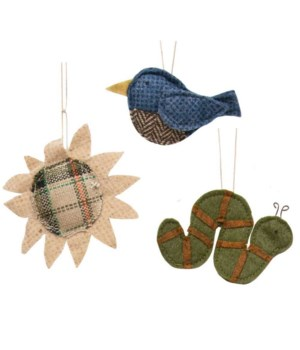 3/Set, In the Garden Fabric Ornaments