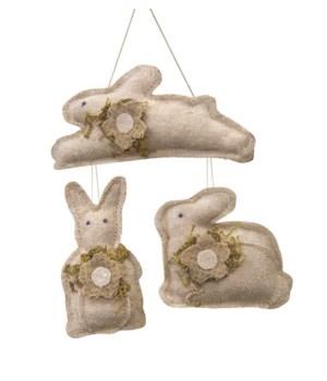 3/Set, Mini Flower Bunny Ornaments