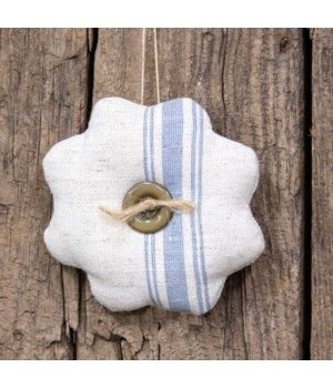Feed Sack Flower Ornament 4.5  dia x .5  dp in.