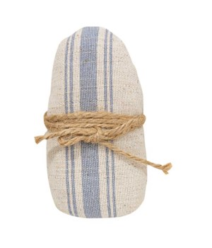 Small Feed Sack Egg With Jute Bow 2.25 l x 1.5  dp x 4.5 h in.
