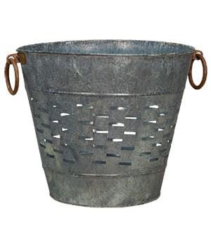 Galvanized Olive Bucket, Large