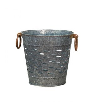 Galvanized Olive Bucket, Small