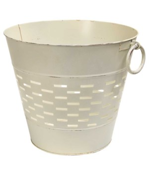 Farmhouse White Olive Bucket, 12 inch 12 x 12 x 10.25 in.