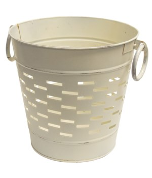 Farmhouse White Olive Bucket, 9 inch 9.25 x 9.2 x 9 in.