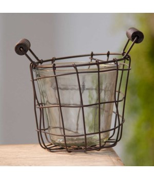 Metal Wire Basket with Glass Jar - 4.5 .......... 4.5 in.