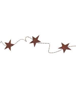 Rusty Star Garland (9 Stars, 2.25 ) 70 in.