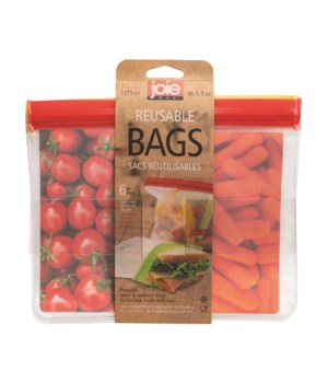 Reusable PEVA Bags - 46.5 oz. (6 pc Card)