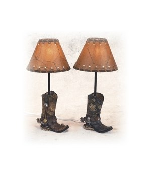 Boot Lamps w/Shade Set of 2 - 14.5 in. H,