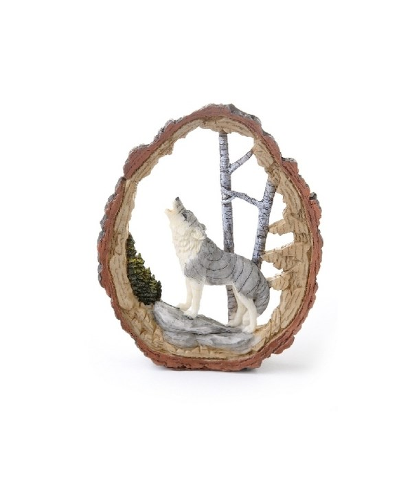 WOLF IN WOOD CUTOUT  6 in. H