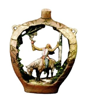 NATIVE AMERICAN W/HORSE / POTTERY 7 in. H
