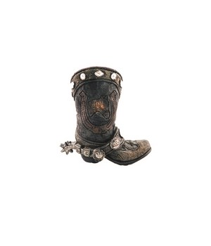 Horse w/ horseshoe boot pencil cup 4.5 in. H