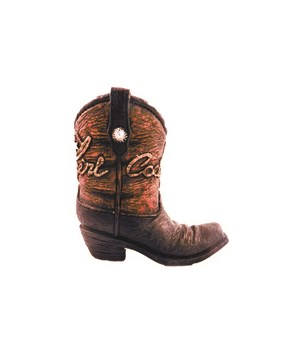 Cowgirl boot pencil cup 4.5 in. H