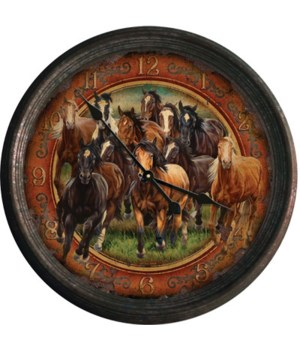 Clock 15 in. - Horse Scene (Rusted)