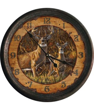 Clock 15 in. - Buck and Doe (Rusted)