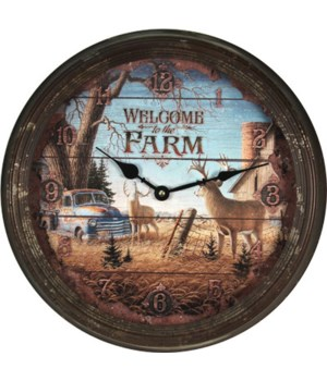 Clock 15 in. - Deer Scene (Rusted)