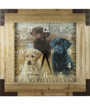 Clock Wood Frame 24 in. - Lab/Puppies