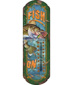 Tin Thermometer - Fish On 5 x 17 in.
