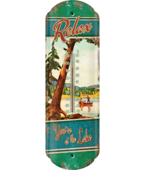 Tin Thermometer - At The Lake 5 x 17 in.