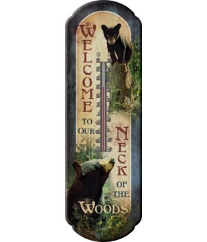 Tin Thermometer - Bear Welcome 5 x 17 in.