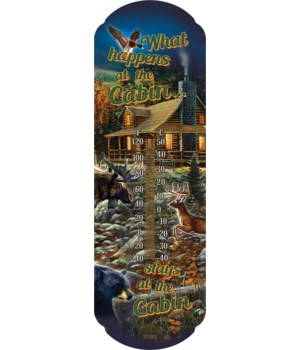 Tin Thermometer - Stays at the Cabin 5 x 17 in.
