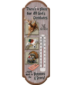Tin Thermometer - God's Creatures 5 x 17 in.