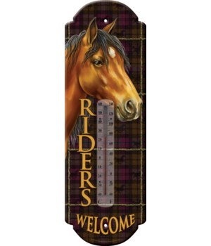 Tin Thermometer - Riders Welcome 5 x 17 in.