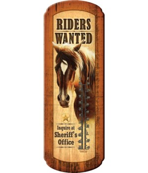 Tin Thermometer - Riders Wanted 5 x 17 in.