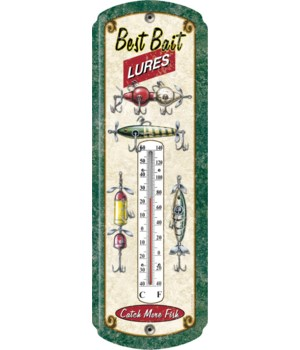 Tin Thermometer - Fishing Lure 5 x 17 in.