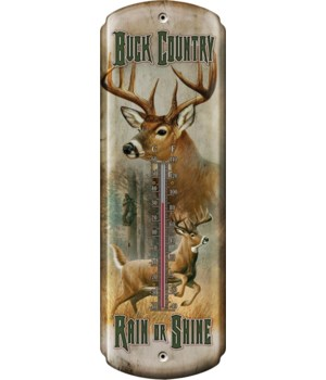 Tin Thermometer - Buck Country 5 x 17 in.
