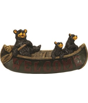 Welcome Sign - Bears in Canoe 16 x 8 in.