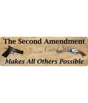 Tin Sign 10.5in x 3.5in - 2nd Amendment