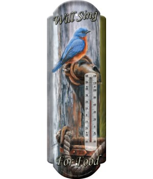 Tin Thermometer - Will Sing for Food 5 x 17 in.